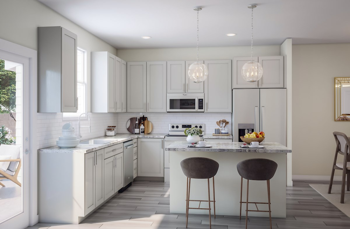 cheerful kitchen with eat-on bar top