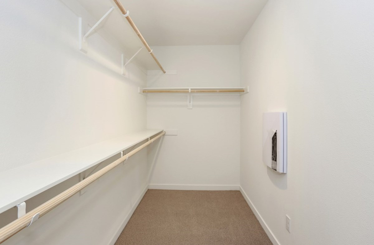 Bristol quick move-in Walk-in closet is designed for easy movement between shelves and optimal hanging and storage space