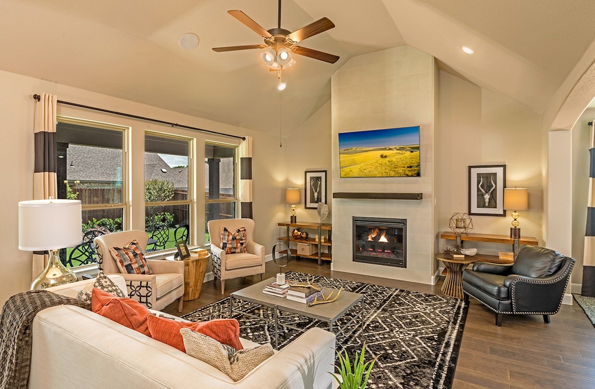 Laredo open great room with fireplace