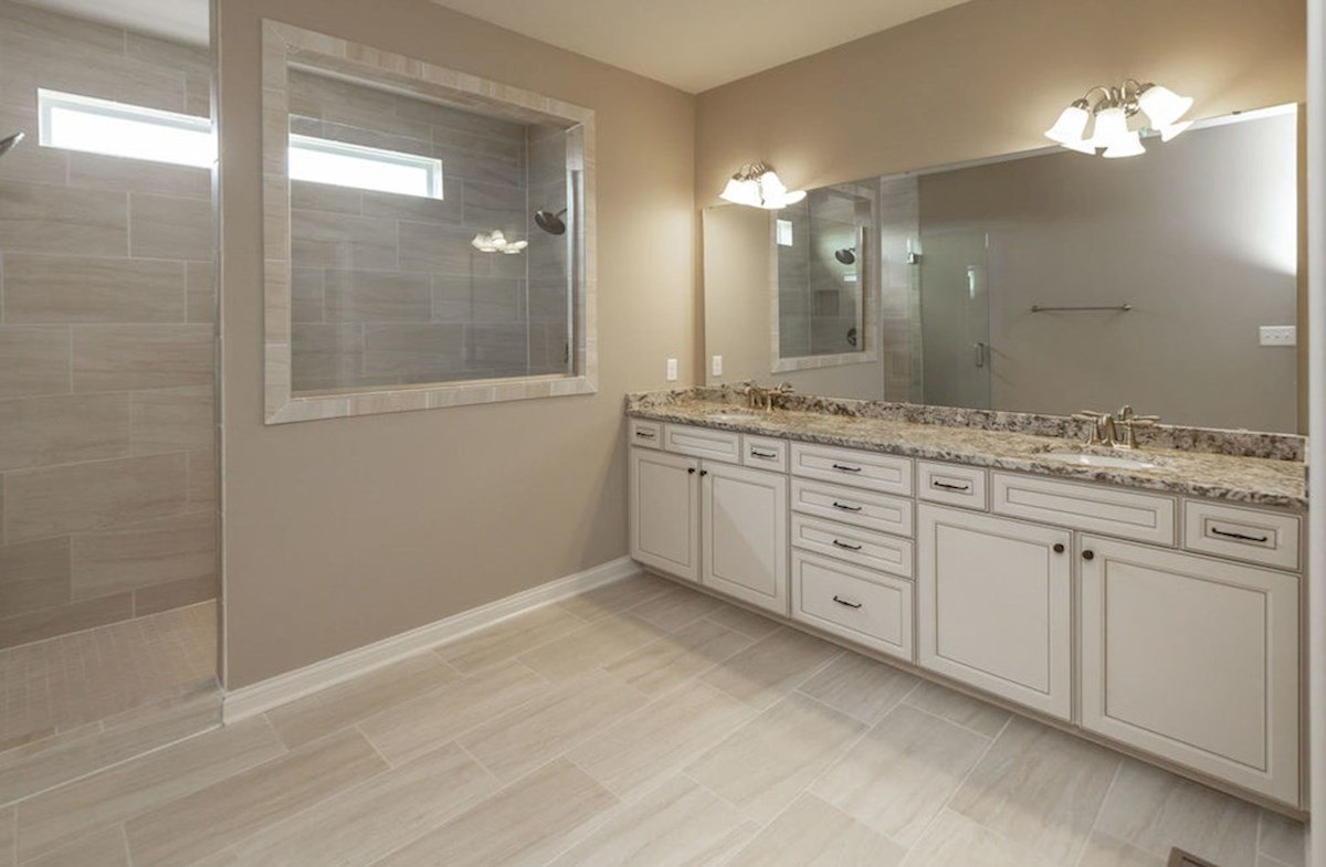 Hampshire Meridian Collection Kessler master bath with granite vanity and two sinks