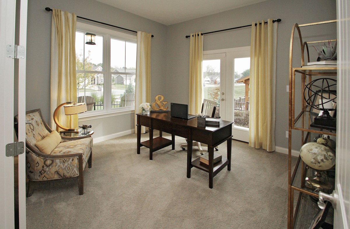 Hampshire Meridian Collection Capitol home office with several windows for natural light