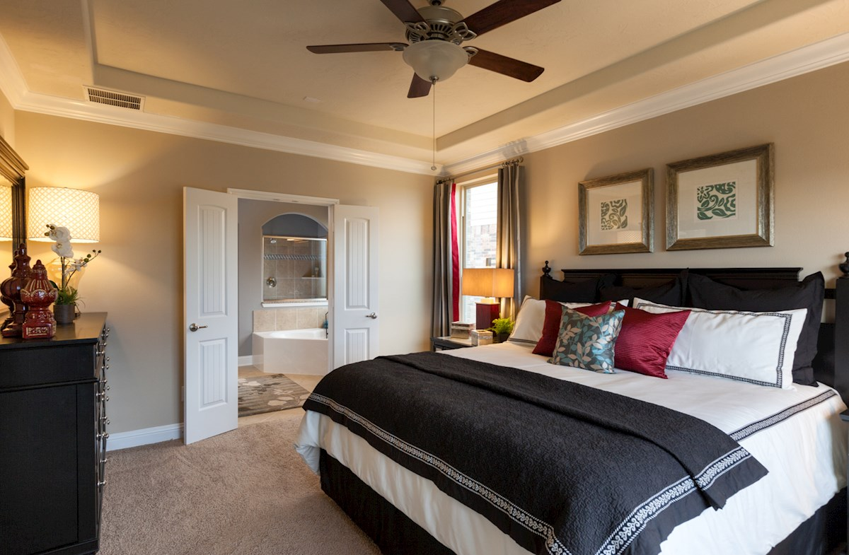 Fenway master bedroom offers tray ceilings
