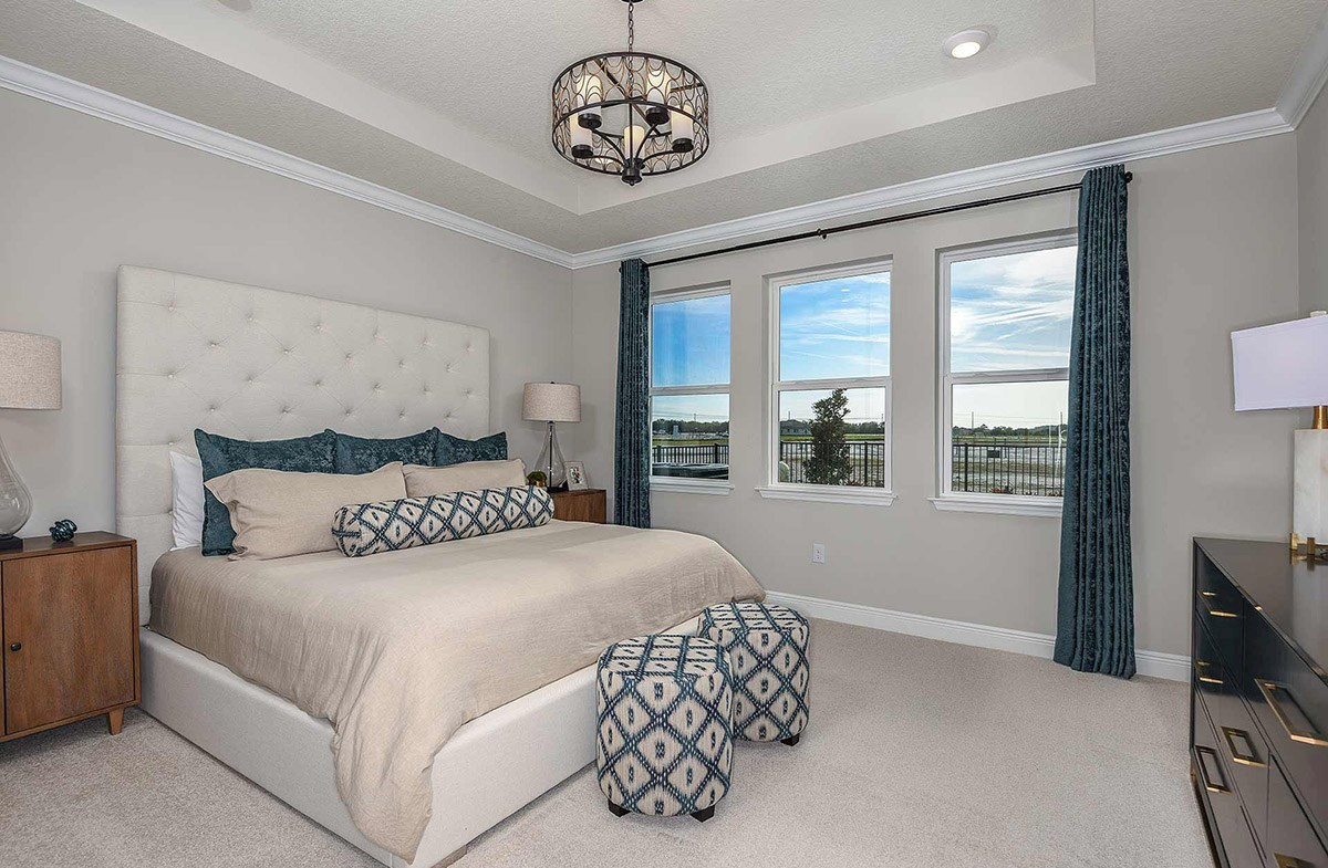 Waterset Bayview Spacious master bedroom with tray ceiling