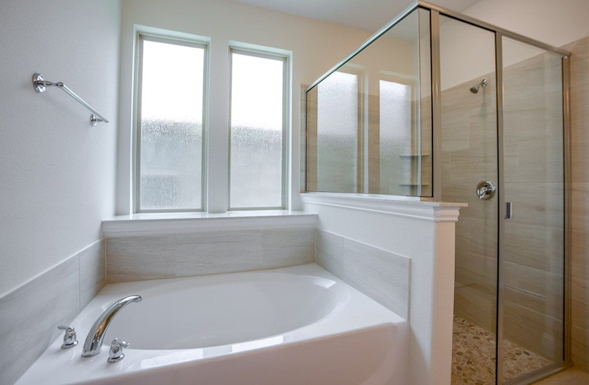 Summerfield quick move-in Tiled shower and large soaker bath tub