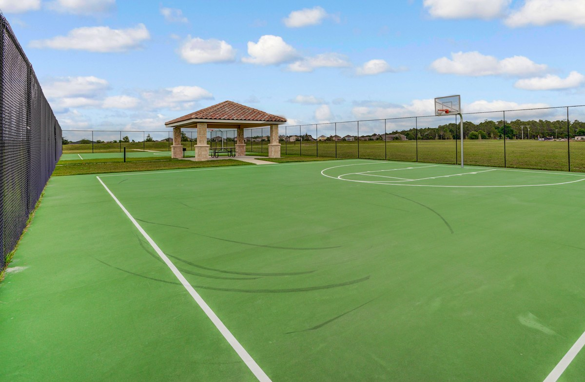 basketball court with cabana