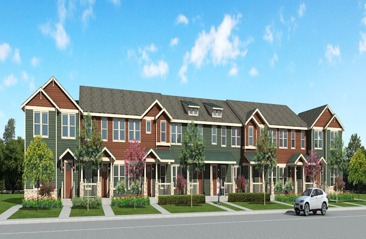 Exterior townhome building Arts & Crafts