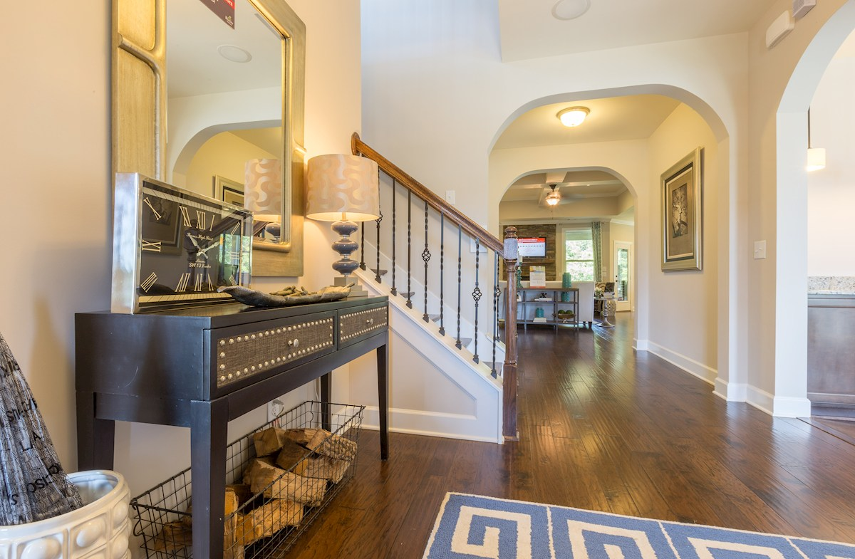 Tuscan Gardens Amherst welcoming entryway with hardwood floors