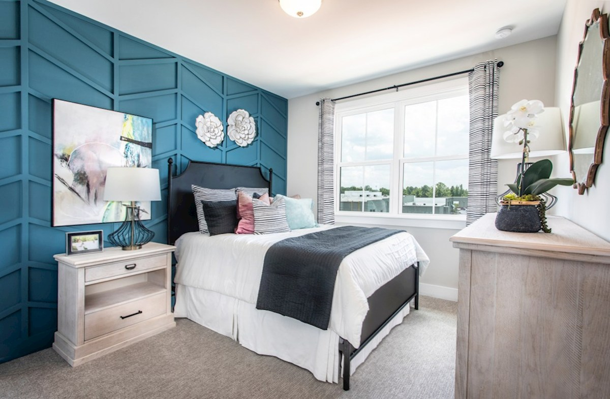 Towns at Old Mill Sumter II Secondary bedroom with blue accent wall