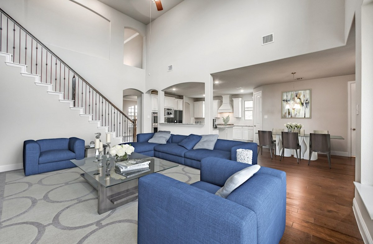 Stoney Creek Riverdale great room features high ceilings