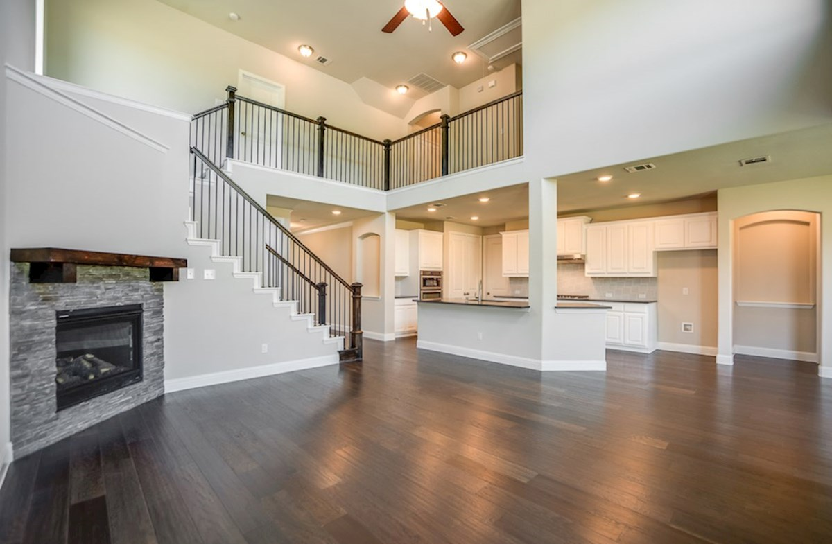 Brookhaven quick move-in great room with soaring ceilings and fireplace
