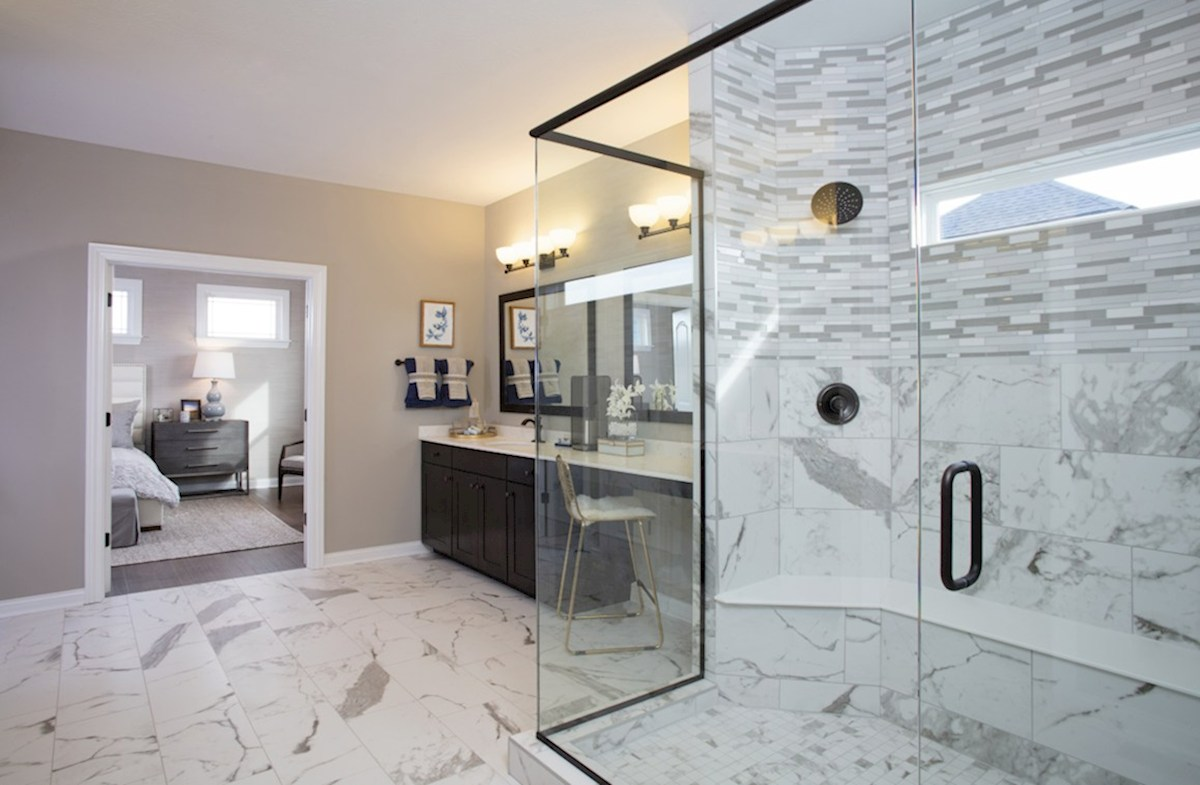 Hampshire Meridian Collection  Tarkington Spa shower with bench in master bath