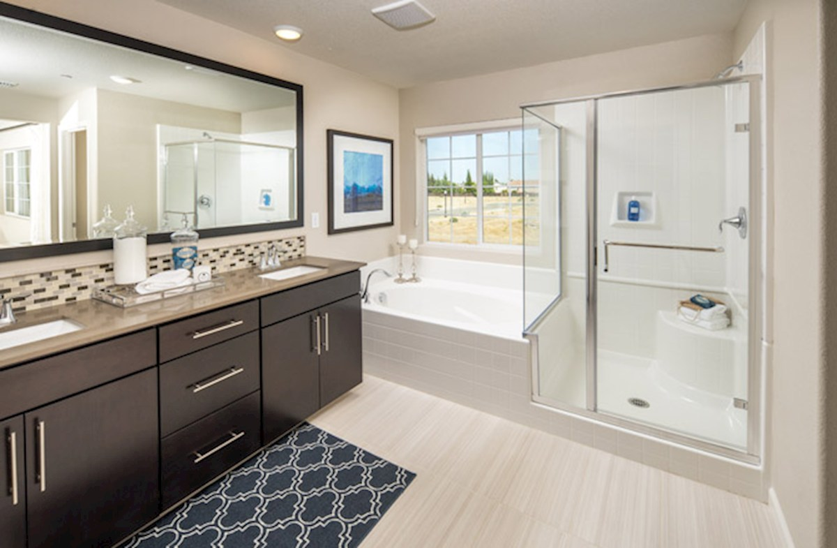 Natomas Field Residence 2 dual vanities in master bathroom
