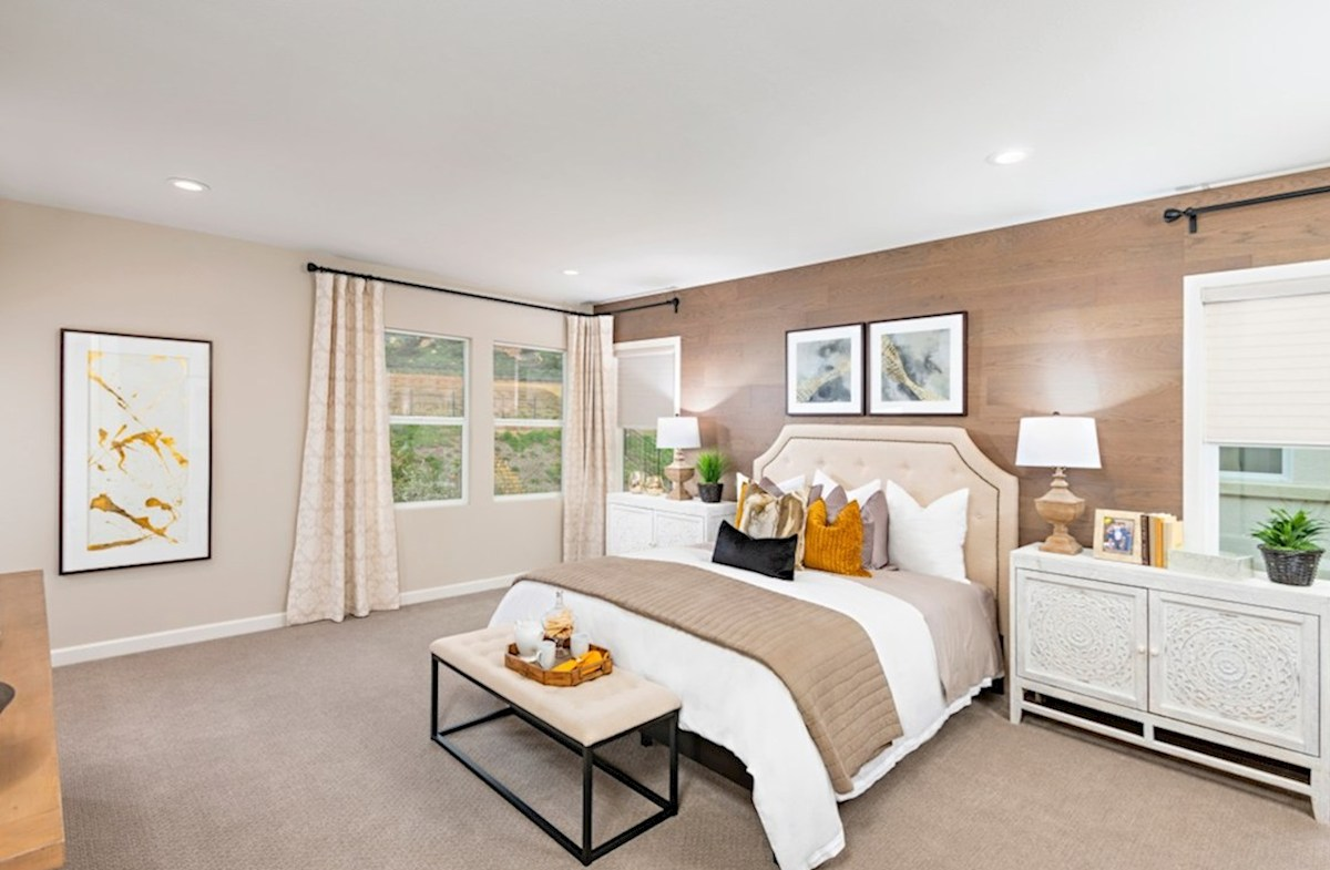 Aurora Heights Torrey Master bedroom located in the back of home for best exterior views and natural light