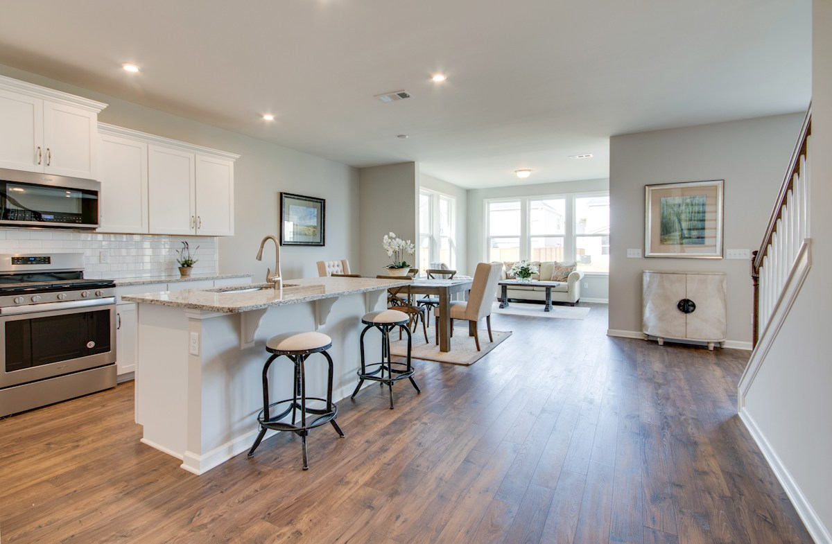 kitchen with center island and hardwood floors