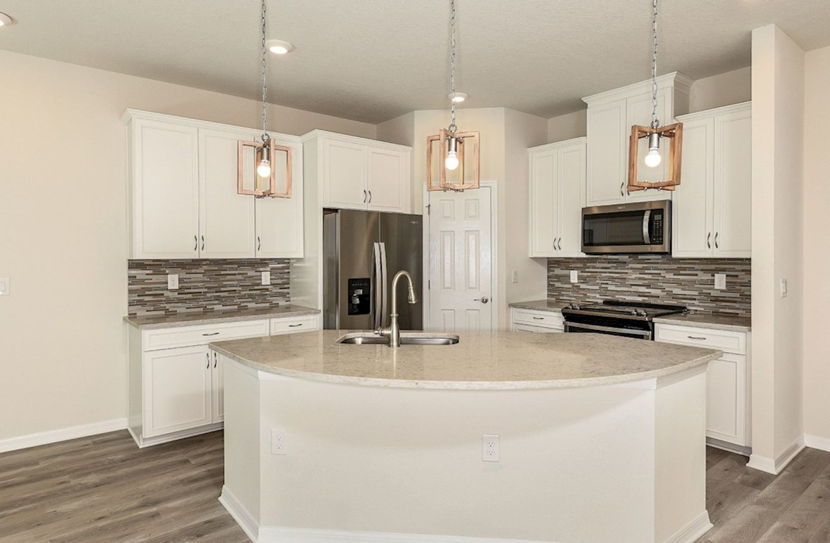 """Siesta Key quick move-in Open kitchen with 42"""" Painted Linen cabinets"""