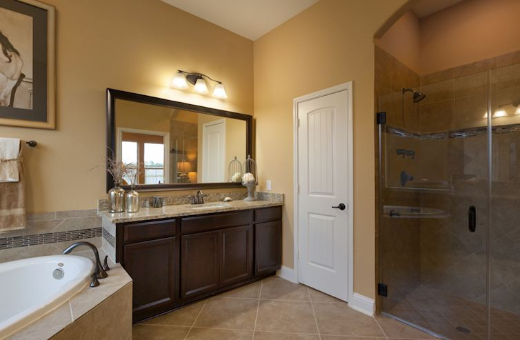 Young Ranch Caldwell serene master bathroom