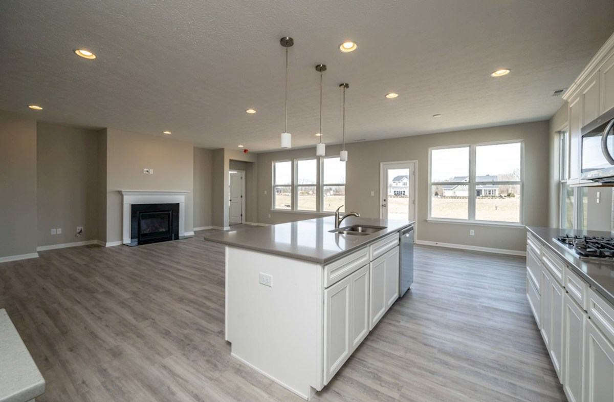 Greenwich quick move-in open great room with fireplace