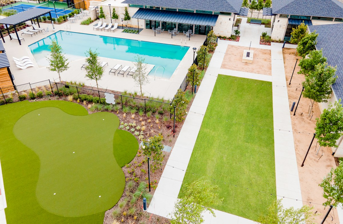 putting green, pool and event lawn