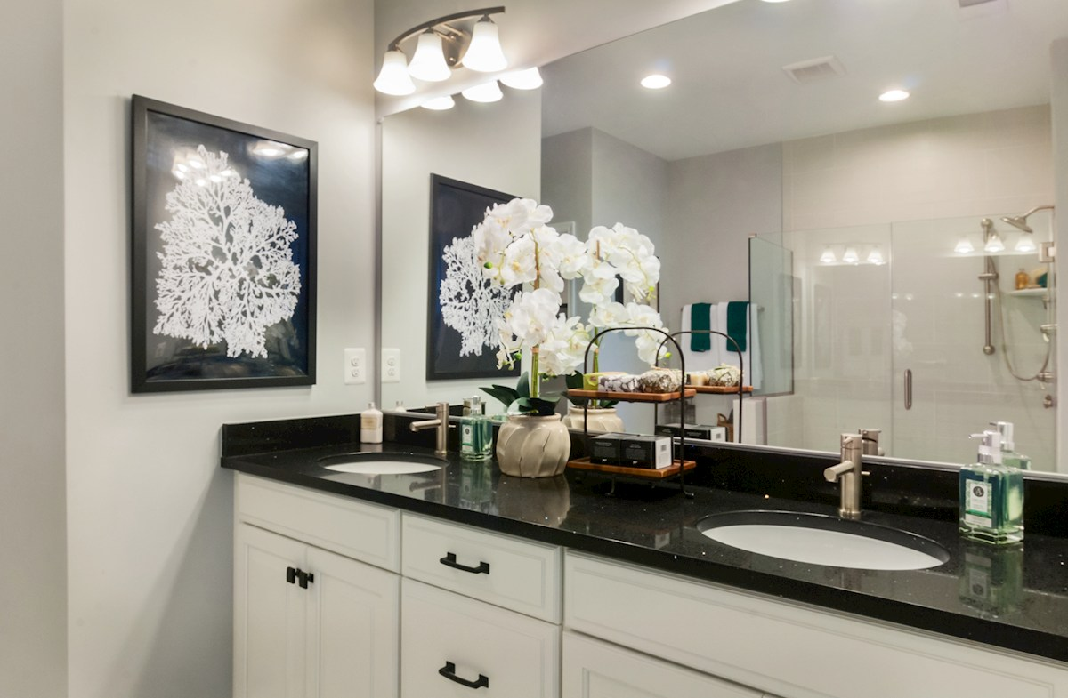 Bishop's Landing Bayard Spa-inspired master bath featuring dual vanities