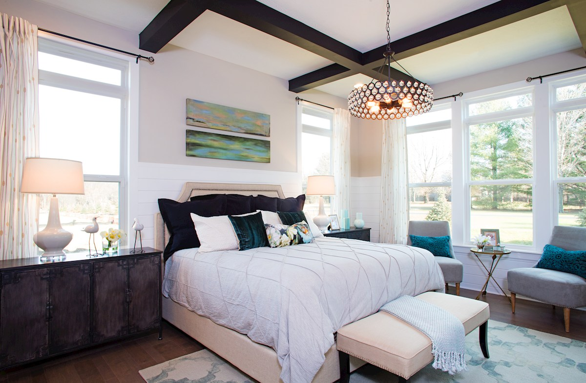 Reserve at Woodside Windsor spacious master bedroom with coffered ceiling
