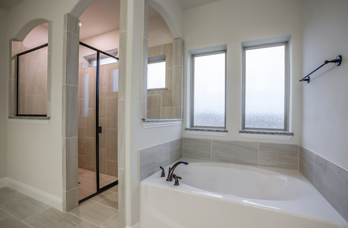 Trinity quick move-in master bedroom with walk in shower and soaking tub