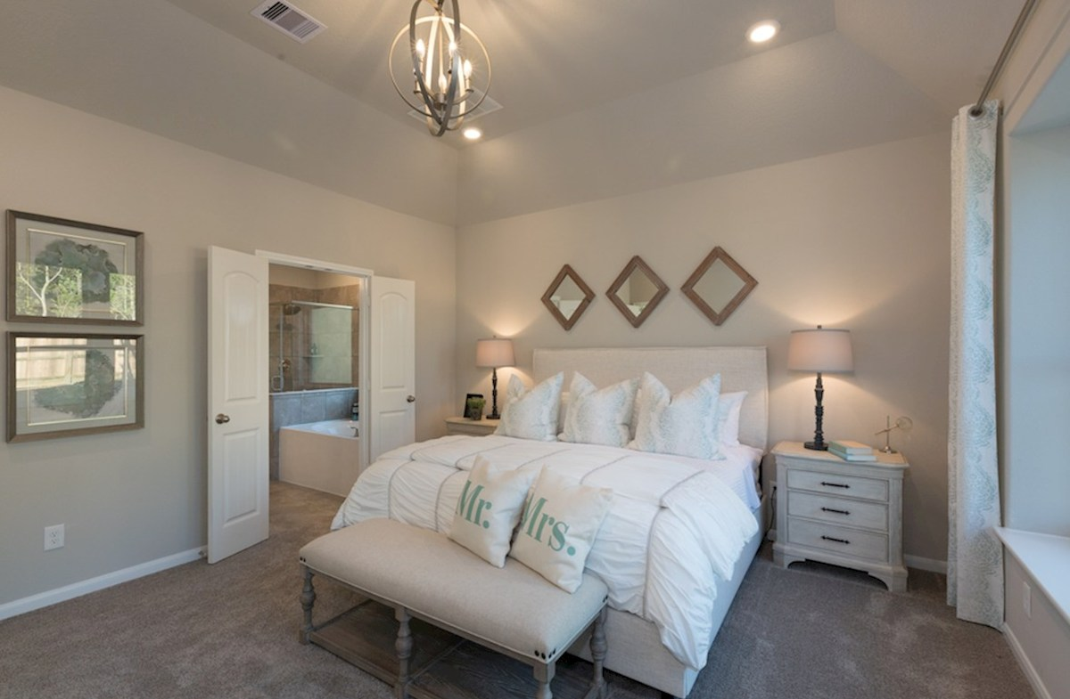 Villages at Harmony Emory master bedroom with carpet floors and window seat
