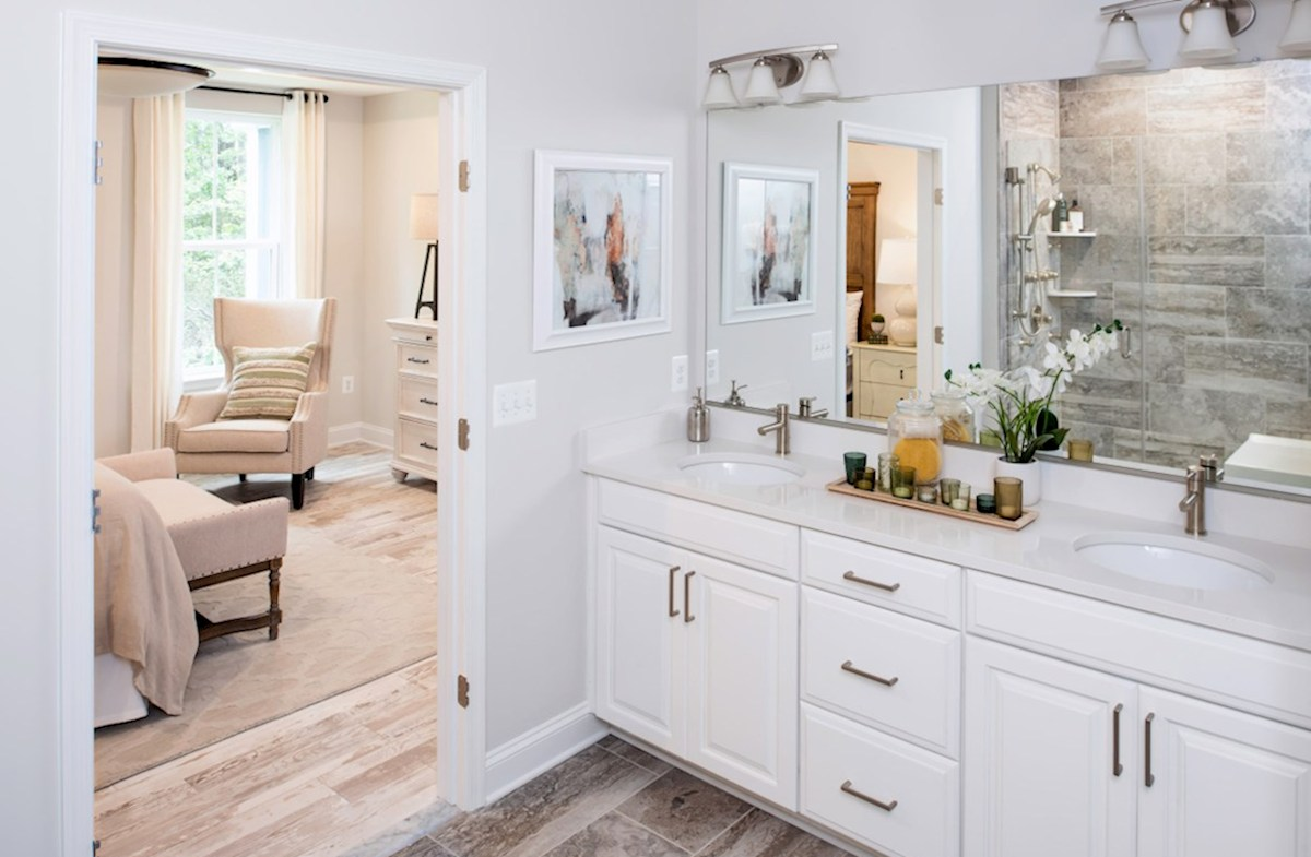 Bishop's Landing Bayard Bayard master bath featuring dual vanities