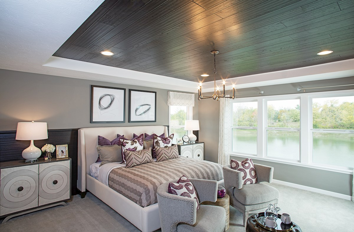 Peaceful master bedroom in the Shelby plan