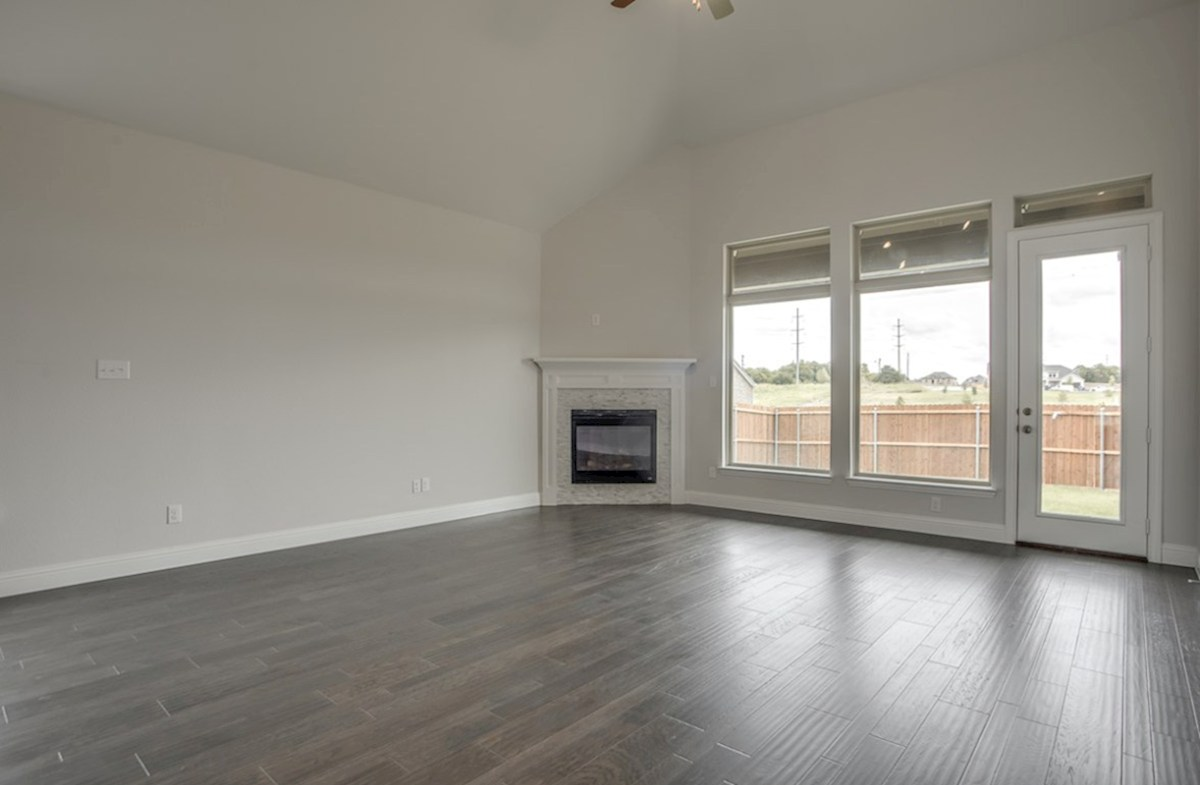 Brighton quick move-in open great room with wood floors and fireplace