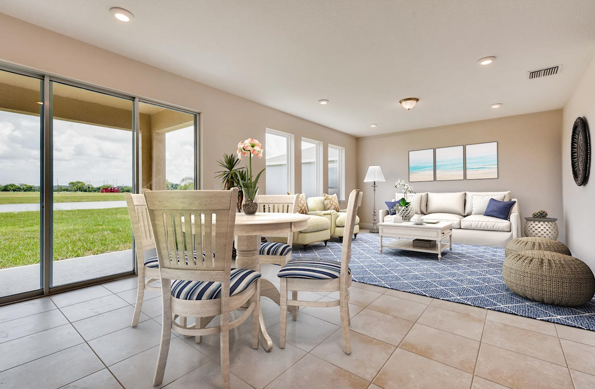 Virtually staged great room and breakfast area