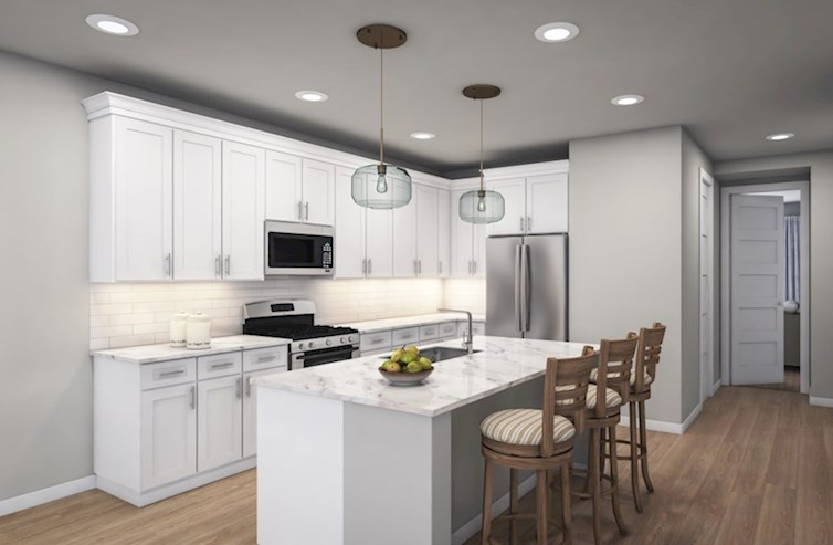 Caspian quick move-in open kitchen with hardwood floors