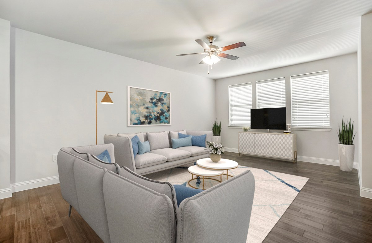 open great room with private balcony
