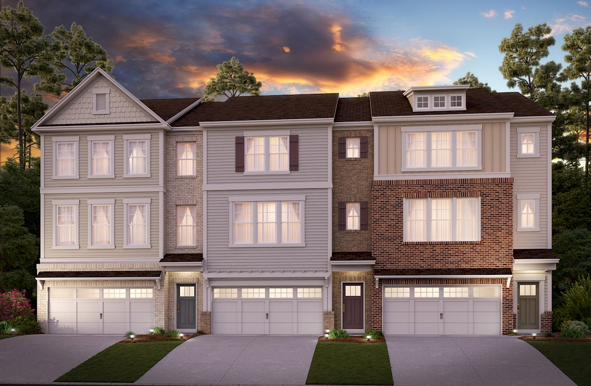 Three-story townhomes front elevations