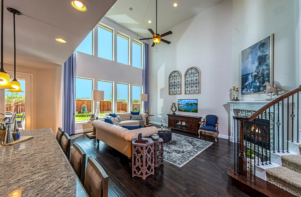 Madison great room with two-story ceilings