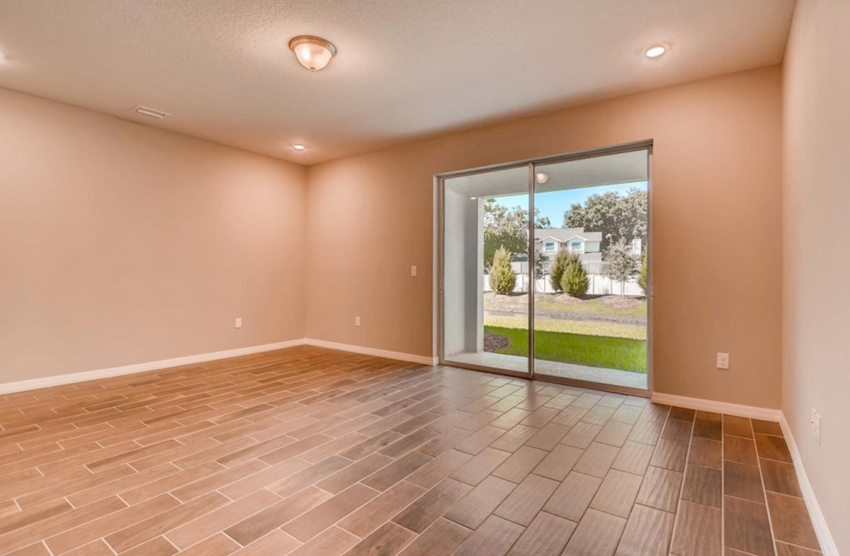 Siesta Key quick move-in Spacious great room with glass slider to lanai