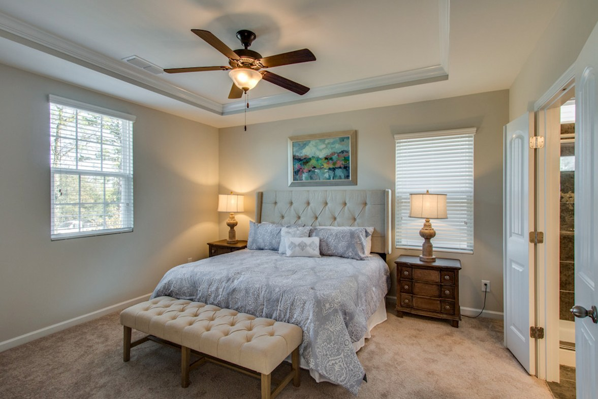 Magnolia Farms Chadwick master bedroom with tray ceiling