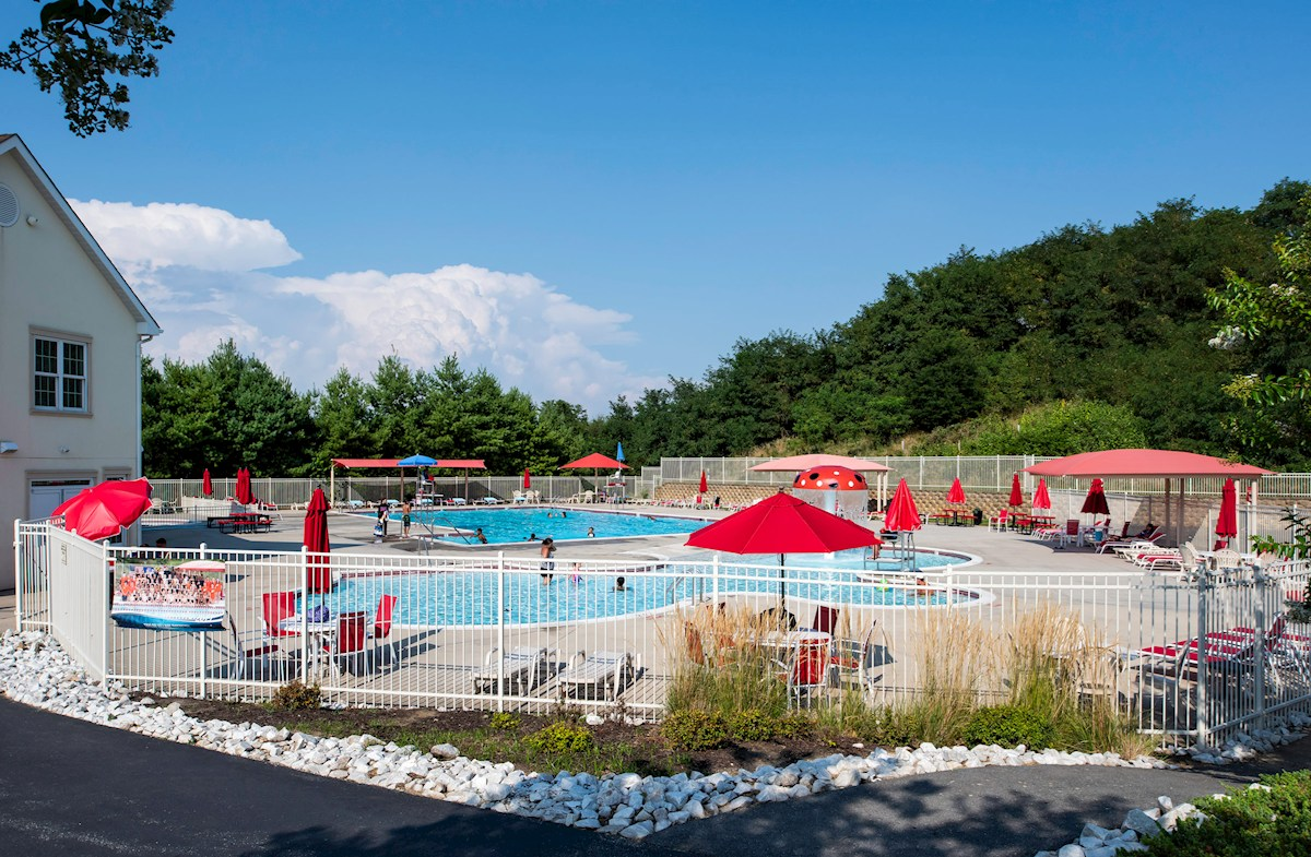 Three outdoor community pools