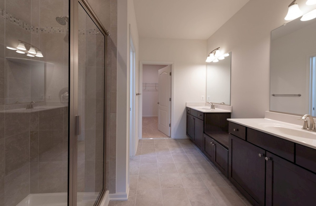 Georgetown quick move-in Georgetown master bathtroom features two separate vanities