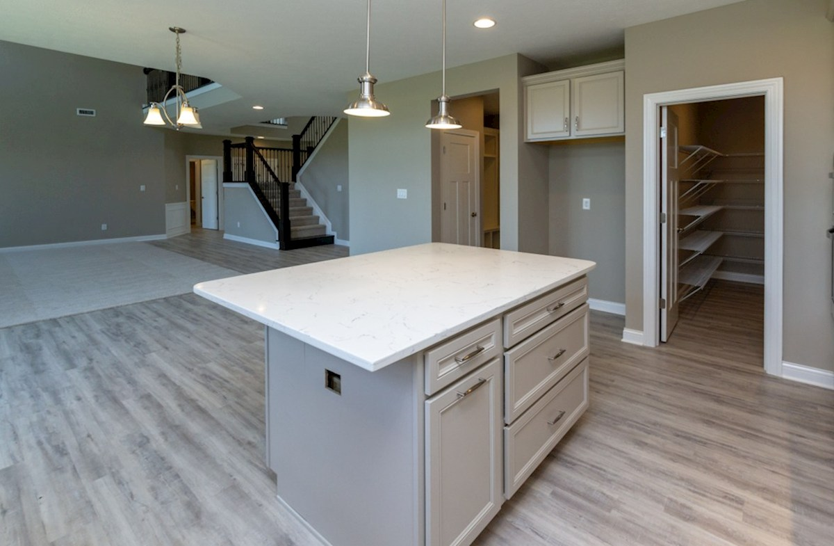 Tarkington quick move-in Open kitchen with large island
