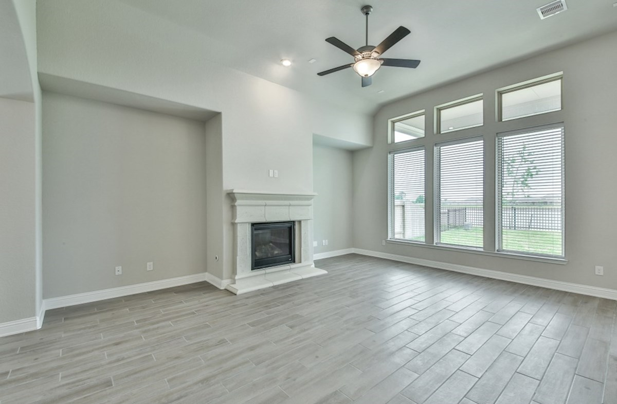 Bandera quick move-in great room with cozy fireplace