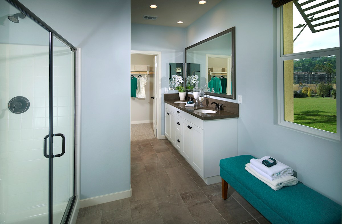 Mission Lane Primrose Primose spa-inspired master bathroom