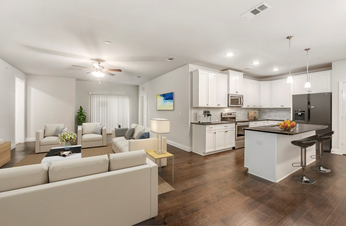 open concept kitchen, dining and living