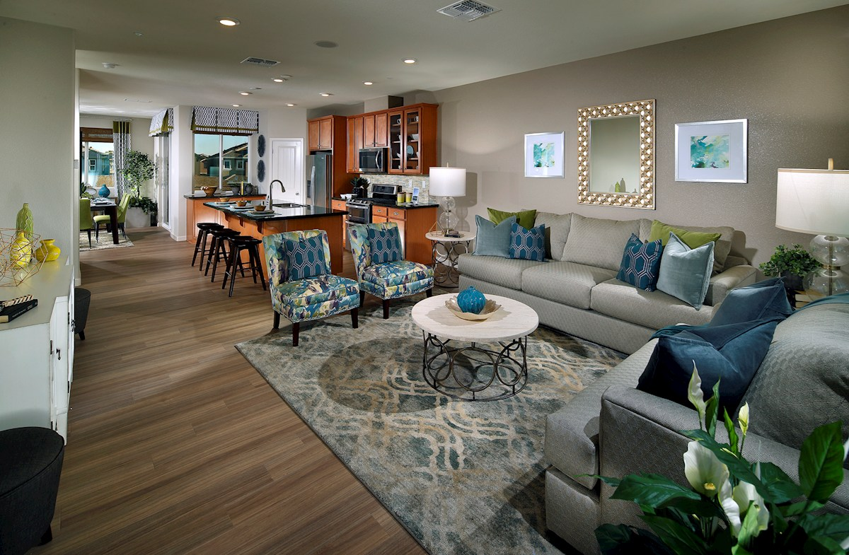 Natomas Field Lillian Long great room showing living and kitchen and dining areas
