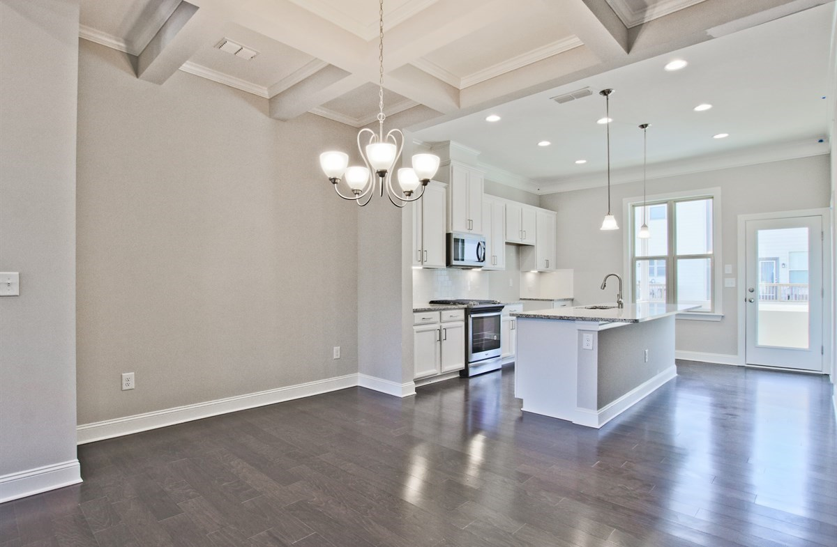 Charleston quick move-in Dining Room with coffered ceiling