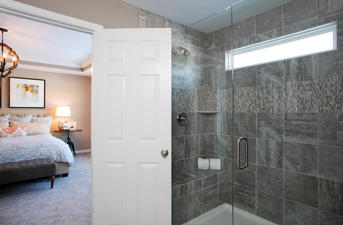 Hampshire Crossroads Collection Lawrence master bath with tiled spa shower