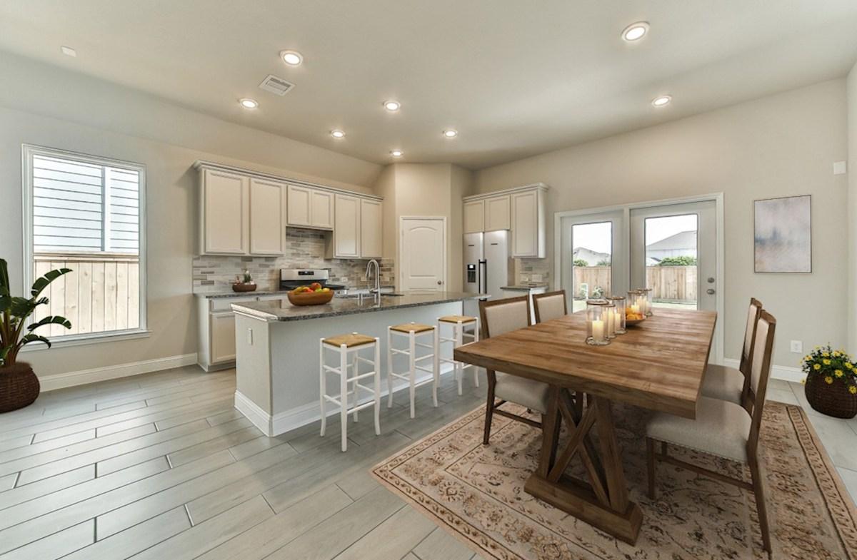 Bridgeland: Harmony Grove Belissimo kitchen with island and tile flooring
