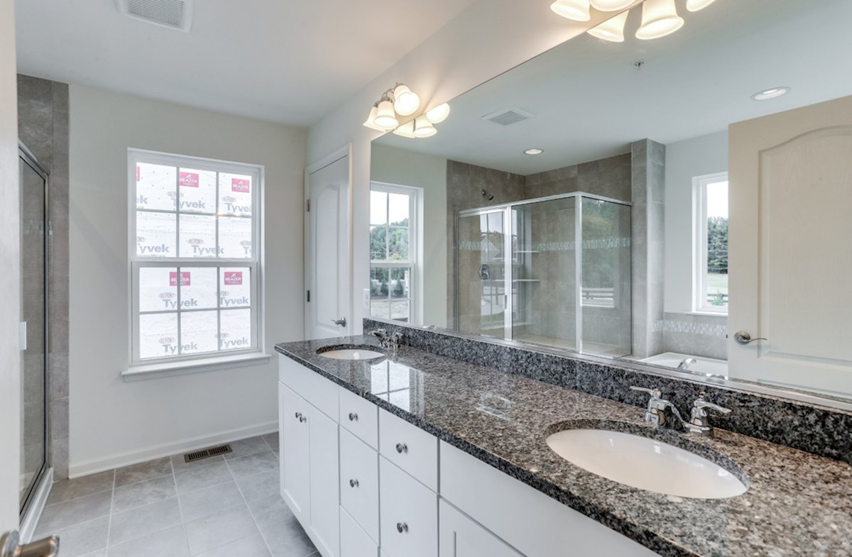 Harrison quick move-in Harrison master bath featuring dual vanities