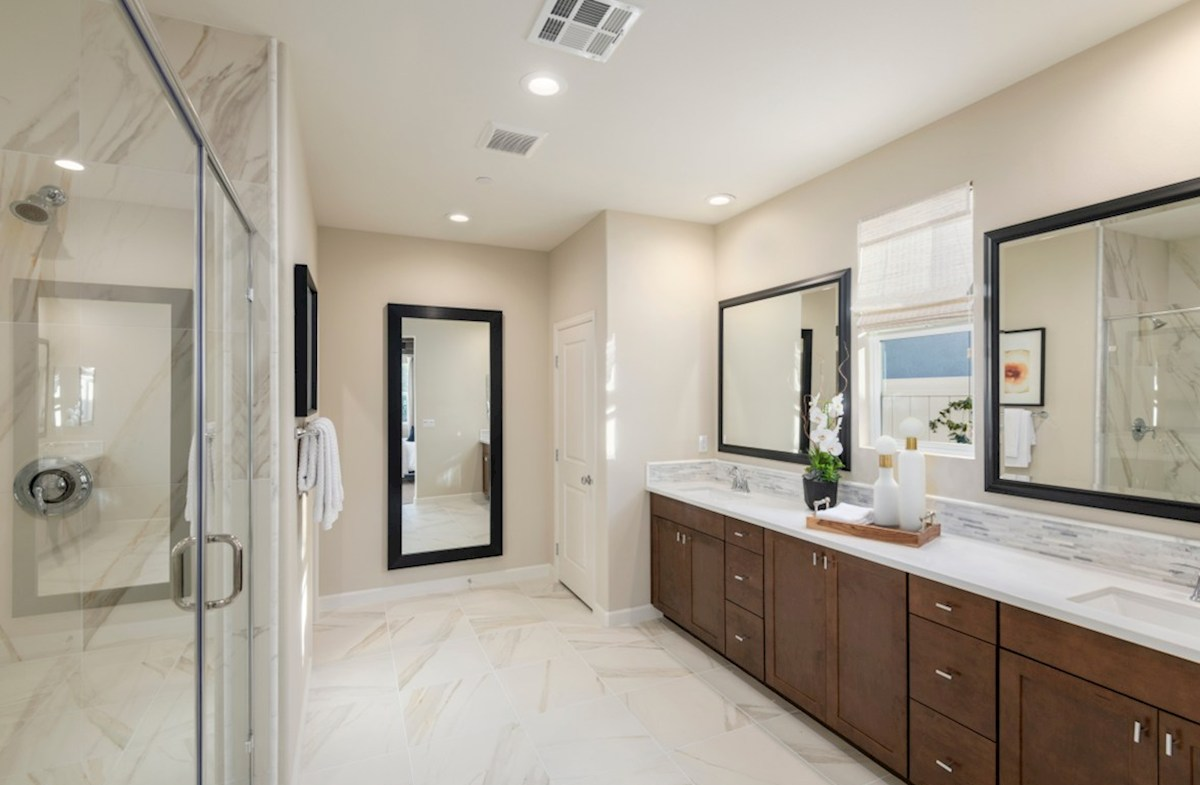 Aurora Heights Cedar Separate vanities give you more space and privacy