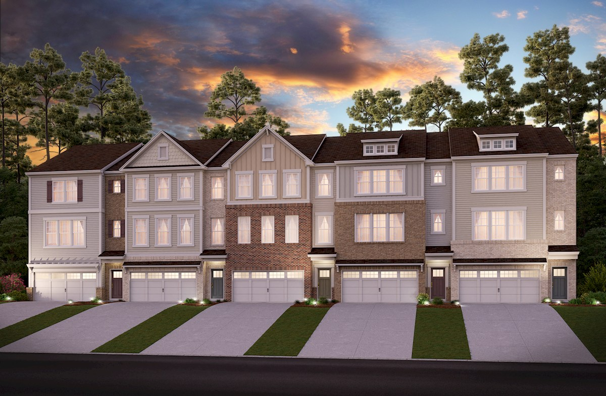 Three-story townhome front exterior