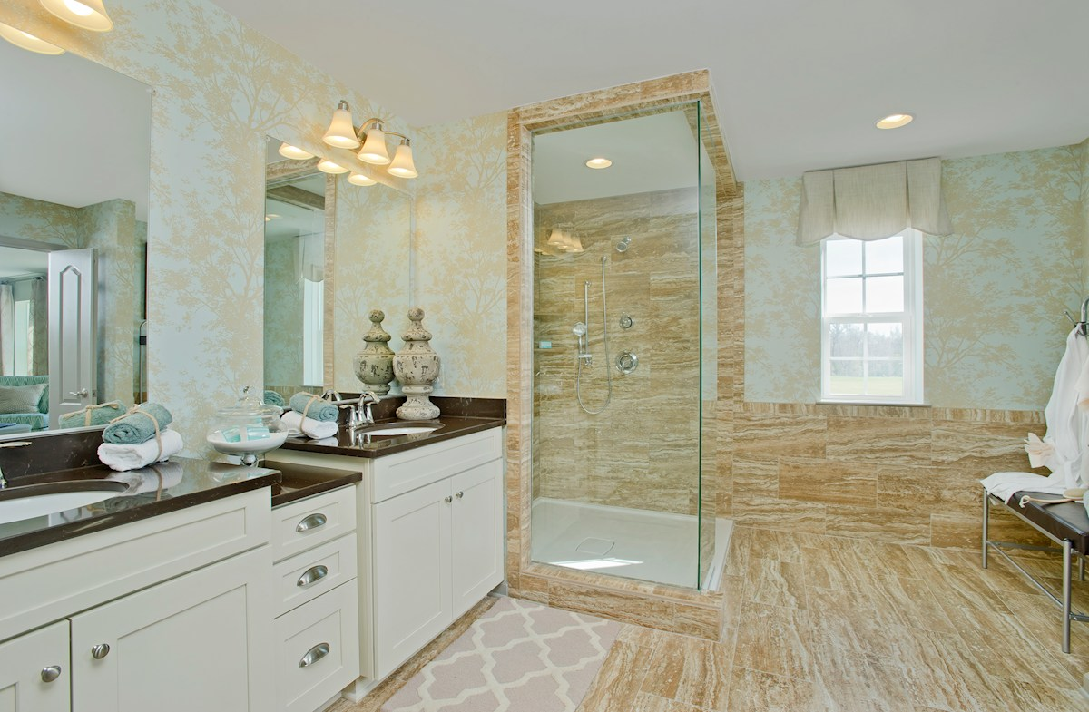 Enclave at River Hill Pembrooke Large master bathroom with dual vanities